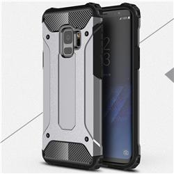 King Kong Armor Premium Shockproof Dual Layer Rugged Hard Cover for Samsung Galaxy S9 - Silver Grey