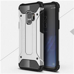 King Kong Armor Premium Shockproof Dual Layer Rugged Hard Cover for Samsung Galaxy S9 - Technology Silver