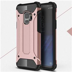 King Kong Armor Premium Shockproof Dual Layer Rugged Hard Cover for Samsung Galaxy S9 - Rose Gold