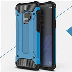 King Kong Armor Premium Shockproof Dual Layer Rugged Hard Cover for Samsung Galaxy S9 - Sky Blue