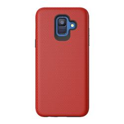 Triangle Texture Shockproof Hybrid Rugged Armor Defender Phone Case for Samsung Galaxy S9 - Red