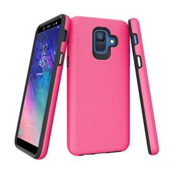 Triangle Texture Shockproof Hybrid Rugged Armor Defender Phone Case for Samsung Galaxy S9 - Rose