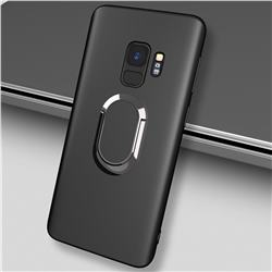 Anti-fall Invisible 360 Rotating Ring Grip Holder Kickstand Phone Cover for Samsung Galaxy S9 - Black