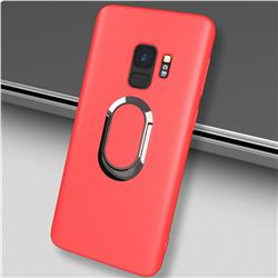 Anti-fall Invisible 360 Rotating Ring Grip Holder Kickstand Phone Cover for Samsung Galaxy S9 - Red