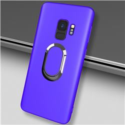 Anti-fall Invisible 360 Rotating Ring Grip Holder Kickstand Phone Cover for Samsung Galaxy S9 - Blue