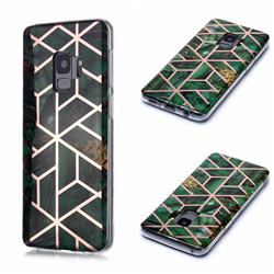 Green Rhombus Galvanized Rose Gold Marble Phone Back Cover for Samsung Galaxy S9