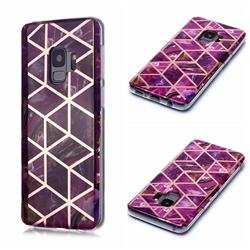 Purple Rhombus Galvanized Rose Gold Marble Phone Back Cover for Samsung Galaxy S9