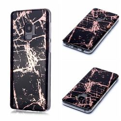 Black Galvanized Rose Gold Marble Phone Back Cover for Samsung Galaxy S9