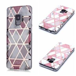 Pink Rhombus Galvanized Rose Gold Marble Phone Back Cover for Samsung Galaxy S9