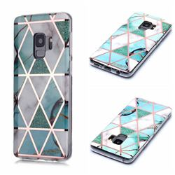 Green White Galvanized Rose Gold Marble Phone Back Cover for Samsung Galaxy S9