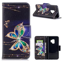 Golden Shining Butterfly Leather Wallet Case for Samsung Galaxy S9
