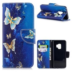 Golden Butterflies Leather Wallet Case for Samsung Galaxy S9