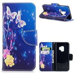 Yellow Flower Butterfly Leather Wallet Case for Samsung Galaxy S9