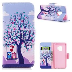 Tree and Owls Leather Wallet Case for Samsung Galaxy S9