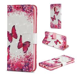 Rose Butterfly 3D Painted Leather Wallet Case for Samsung Galaxy S9