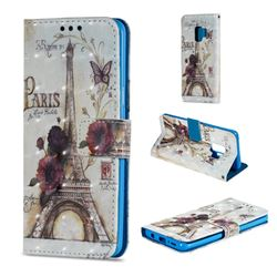 Flower Eiffel Tower 3D Painted Leather Wallet Case for Samsung Galaxy S9