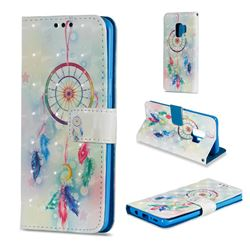 Feather Wind Chimes 3D Painted Leather Wallet Case for Samsung Galaxy S9