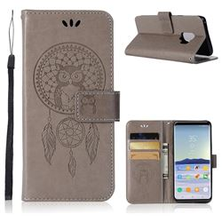 Intricate Embossing Owl Campanula Leather Wallet Case for Samsung Galaxy S9 - Grey