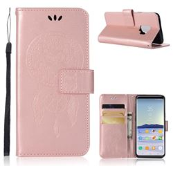 Intricate Embossing Owl Campanula Leather Wallet Case for Samsung Galaxy S9 - Rose Gold