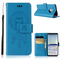 Intricate Embossing Owl Campanula Leather Wallet Case for Samsung Galaxy S9 - Blue