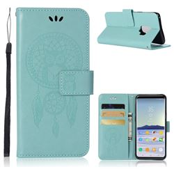 Intricate Embossing Owl Campanula Leather Wallet Case for Samsung Galaxy S9 - Green