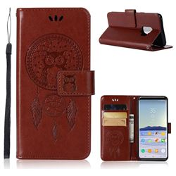 Intricate Embossing Owl Campanula Leather Wallet Case for Samsung Galaxy S9 - Brown