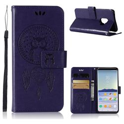 Intricate Embossing Owl Campanula Leather Wallet Case for Samsung Galaxy S9 - Purple