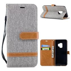 Jeans Cowboy Denim Leather Wallet Case for Samsung Galaxy S9 - Gray