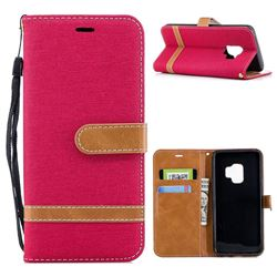 Jeans Cowboy Denim Leather Wallet Case for Samsung Galaxy S9 - Red