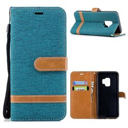 Jeans Cowboy Denim Leather Wallet Case for Samsung Galaxy S9 - Green