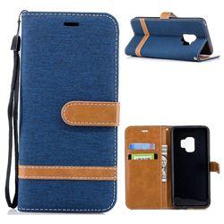 Jeans Cowboy Denim Leather Wallet Case for Samsung Galaxy S9 - Dark Blue