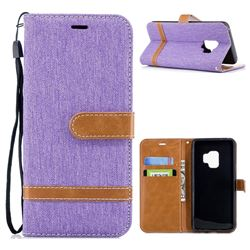 Jeans Cowboy Denim Leather Wallet Case for Samsung Galaxy S9 - Purple