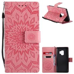 Embossing Sunflower Leather Wallet Case for Samsung Galaxy S9 - Pink