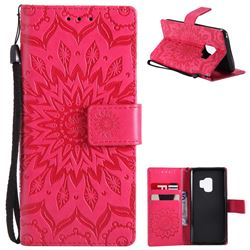 Embossing Sunflower Leather Wallet Case for Samsung Galaxy S9 - Red