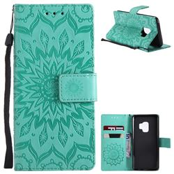 Embossing Sunflower Leather Wallet Case for Samsung Galaxy S9 - Green