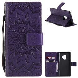 Embossing Sunflower Leather Wallet Case for Samsung Galaxy S9 - Purple