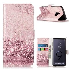 Glittering Rose Gold PU Leather Wallet Case for Samsung Galaxy S9