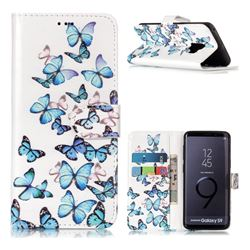 Blue Vivid Butterflies PU Leather Wallet Case for Samsung Galaxy S9