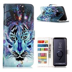 Ice Wolf 3D Relief Oil PU Leather Wallet Case for Samsung Galaxy S9