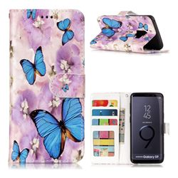 Purple Flowers Butterfly 3D Relief Oil PU Leather Wallet Case for Samsung Galaxy S9