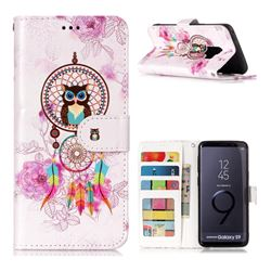 Wind Chimes Owl 3D Relief Oil PU Leather Wallet Case for Samsung Galaxy S9