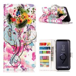 Flower Elephant 3D Relief Oil PU Leather Wallet Case for Samsung Galaxy S9