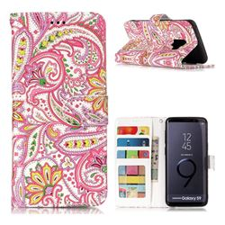 Pepper Flowers 3D Relief Oil PU Leather Wallet Case for Samsung Galaxy S9