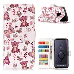 Cute Bear 3D Relief Oil PU Leather Wallet Case for Samsung Galaxy S9