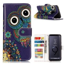 Folk Owl 3D Relief Oil PU Leather Wallet Case for Samsung Galaxy S9