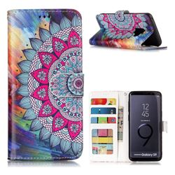 Mandala Flower 3D Relief Oil PU Leather Wallet Case for Samsung Galaxy S9