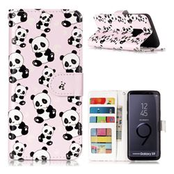 Cute Panda 3D Relief Oil PU Leather Wallet Case for Samsung Galaxy S9