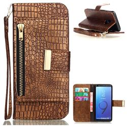 Retro Crocodile Zippers Leather Wallet Case Gold