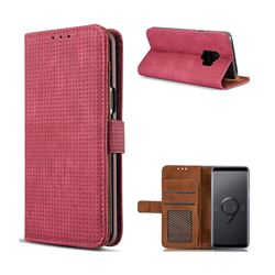 Luxury Vintage Mesh Monternet Leather Wallet Case for Samsung Galaxy S9 - Rose