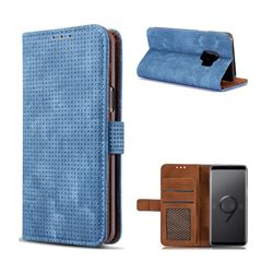 Luxury Vintage Mesh Monternet Leather Wallet Case for Samsung Galaxy S9 - Blue